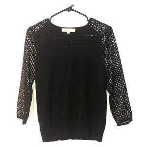 Anne Taylor LOFT sweater - black & lace detailing